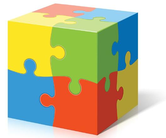 Cube composé de quatre petits cubes en puzzle